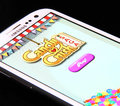 Candy crush saga game johor malaysia jan photo of on a smartphone screen is famous on jan in johor malaysia Royalty Free Stock Images