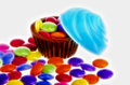 Candy cupcakes chocolate and candies isolated on white background Royalty Free Stock Photography