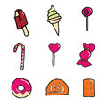 Candy and dessert icon set Stock Photography