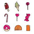 Candy ed icona del dessert Fotografia Stock