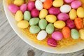 Candy eggs on plate top view Royalty Free Stock Photos