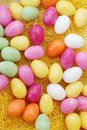 Candy eggs on plate top view Stock Photography