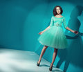Candy girl wearing bright green dress Stock Photos