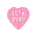 Candy heart it s over pink with the words printed on valentine day concept Royalty Free Stock Photo