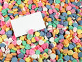 Candy Hearts with Blank Sign Stock Image