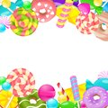 Candy horizontal frame isolated on white. Sweet candy, lollipop, spiral, donat, marmalade background