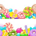 Candy horizontal frame. Two vector line frames with sweet candies isolated on white background