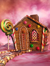 Candy house pink scenery with a fantasy Royalty Free Stock Images