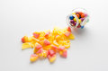 Candy jar over white background Stock Photos
