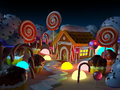 Candy land landscape at night