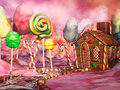Candy landscape fantasy land with chocolate and gingerbread house Stock Photography