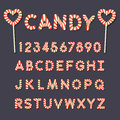 Candy lollipop alphabet letters and numbers