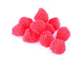 Candy raspberries on a white background Royalty Free Stock Photo