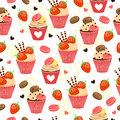 Candy seamless pattern with cupcakes