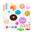 Candy set isolated on white. Vector illustration. Candy, croissa