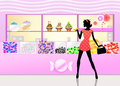 Candy shop illustration of woman buys Royalty Free Stock Photo