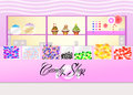 Candy shop illustration of woman buys Royalty Free Stock Image