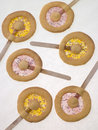 Candy and Shortbread Biscuit Lollipops Royalty Free Stock Photo