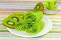 Candy  with slices kiwi on a plate Royalty Free Stock Photo