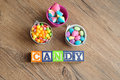 Candy spelled in alphabet blocks Royalty Free Stock Photo