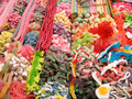 Candy stand at boqueria market in barcelona spain Royalty Free Stock Photography