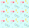 Candy on sticks, glasses in the shape of heart seamless pattern. Fashionable modern endless background, repeating