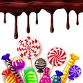 Candy Sweet Shop colourfull template set of different colors of candy, sweets, jelly beans with chocolate drips