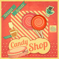 Candy sweet shop vintage card retro illustration Stock Photos