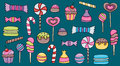 Candy and sweets cartoon doodle elements set.