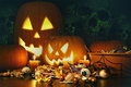 Candy treats and pumpkins from halloween Royalty Free Stock Photo