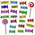 Candy vector illustration of many colorful candies and lollipops Royalty Free Stock Photo