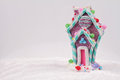 Candyland Christmas. Merry Christmas and Happy New Year background. Colorful Candy house christmas tree decoration on white backgr Royalty Free Stock Photo