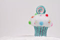 Candyland Christmas. Merry Christmas and Happy New Year background. Colorful cupcake christmas tree decoration on white background Royalty Free Stock Photo