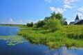 Cane coast of the river Orsha at Voznesensky Orshin monastery in Tver region, Russia Royalty Free Stock Photo