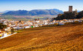 Canete la Real with fields and castle.  Andalusia, Spain Royalty Free Stock Photo