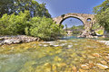 Cangas de onis spain roman bridge of asturias hdr picture Stock Photos