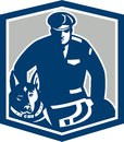Canine policeman with police dog retro illustration of a officer security guard facing front set inside shield crest on Stock Images