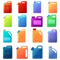 Canister icons set, cartoon style