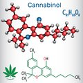 Cannabinol CBN - structural chemical formula and molecule mode Royalty Free Stock Photo