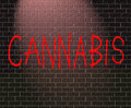 Cannabis concept illustration depicting graffiti on a brick wall with a Royalty Free Stock Image