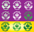 Cannabis decorative textured leaf design stamps with dove symbol set of Stock Photography