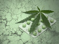 Cannabis leaf and drugs over grunge texture Royalty Free Stock Photo