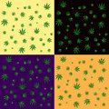 Cannabis leaf seamless background pattern