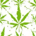 Cannabis leafs - seamless pattern Royalty Free Stock Photo