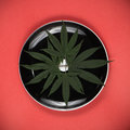 Cannabis leaves on a dish - medical marijuana infused edibles co Royalty Free Stock Photo