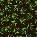 Cannabis leaves. Embroidery. Hand Drawn Vector Seamless Pattern