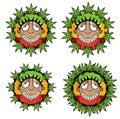 Cannabis marijuana happy smiling rastafarian guy  illustration Royalty Free Stock Photo
