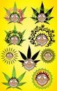 Cannabis marijuana happy smiling rastafarian smoker illustration with dreads Royalty Free Stock Photo