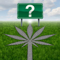 Cannabis marijuana questions or marihuana concept with a driving road or street in the shape of the pot leaf and a highway sign Stock Photography