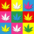 Cannabis pop art wallpaper with leaves Royalty Free Stock Images